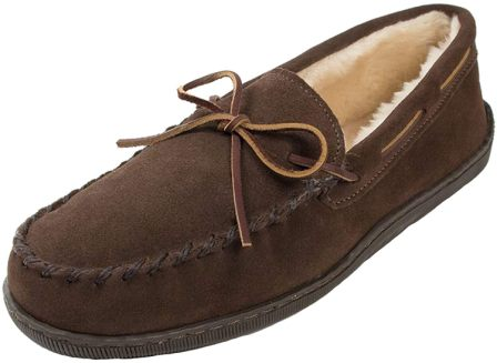Minnetonka Men's Pile Lined Hardsole Slipper- extra wide mens shoes for swollen feet